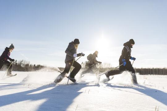 Lumikenkäjuoksu järven jäällä
