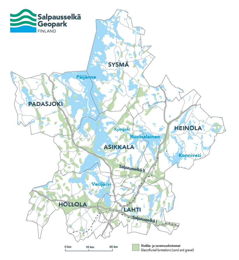 Salpausselkä Geoparki kartta